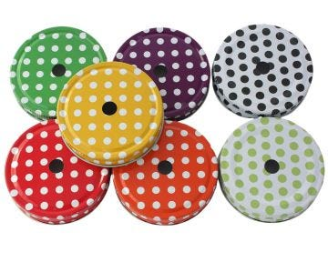 White Straw Hole Tumbler Lids With Colored Polka Dots for Regular Mouth Mason Jars, 10-Pack