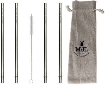 Extra Long Safer Rounded End Stainless Steel Straws for Half Gallon Mason Jars, 4-Pack+Cleaner+Cloth Bag
