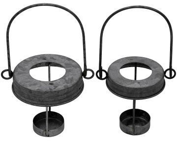 Galvanized Metal Tea Light Candle Holder Lids With Handles for Mason Jars, 3-Pack