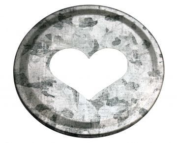 Heart Cutout Galvanized Metal Lid Inserts for Mason Jars, 10-Pack