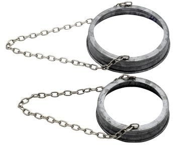 Galvanized Band with Chain Handle for Mason Jars, 6-Pack