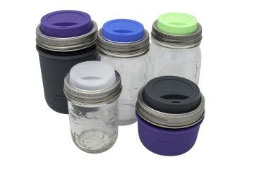 Silicone Drinking Lid with Stainless Steel Band for Mason Jars, 2-Pack