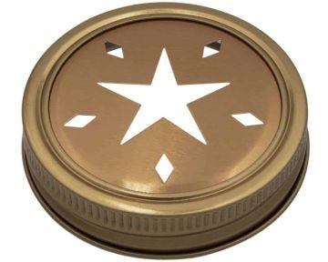 Star Pattern Gold Lid Inserts for Regular Mouth Mason Jars, 10-Pack