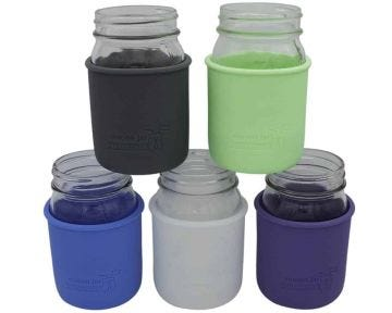 Silicone Sleeve for Regular Mouth Pint Mason Jars, 2-Pack
