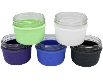 Silicone Sleeves for Wide Mouth Half Pint Mason Jars, 2-Pack