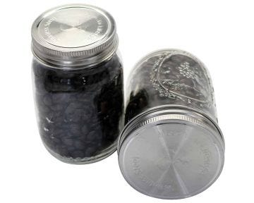 Mason Jar Lifestyle Stainless Steel Storage Lids with Silicone Seals for Mason Jars, 5-Pack