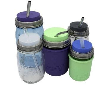Silicone Straw Hole Tumbler with Stainless Steel Band for Mason Jars, 2-Pack