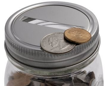Coin Slot Bank Stainless Steel Lid Inserts for Mason Jars, 10-Pack