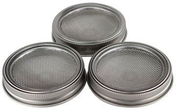 Curved Rust Proof Sprouting Lid and Band for Wide Mouth Mason Jars, 3-Pack