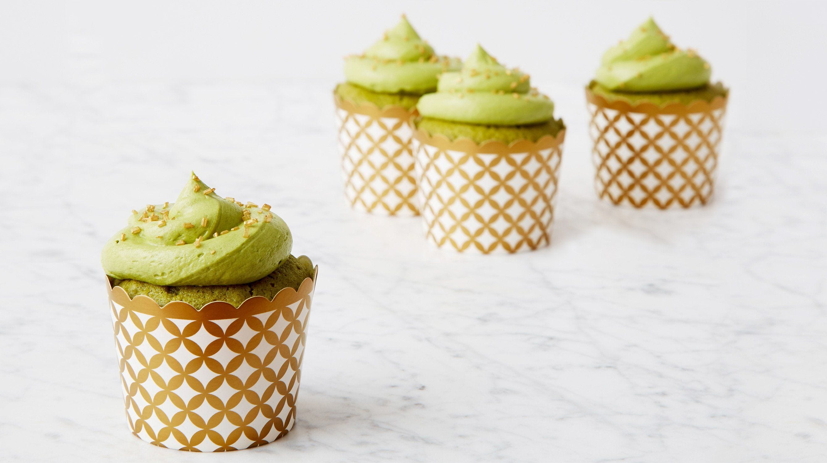 Green Tea Matcha Cupcakes with Gold Sprinkles recipe.