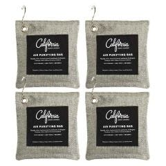 Bamboo Charcoal Air Purifying  Charcoal Bag 4-Pack Bundle, 200g  with Hanging Hooks