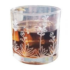Agave Cactus Succulent Etched Cocktail Rocks Old Fashioned Glass