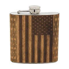 6 oz Wood Engraved American Flag Hip Flask