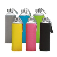 Glass Water Bottles with Multicolored Neoprene Sleeves, 6 Pack