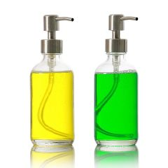 8 oz Clear Glass Soap Dispenser - Set of 2