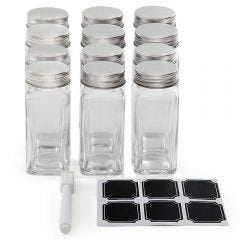 Square Glass Spice Jars - Pack of 12