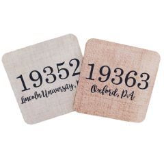 Customizable Zipcode Wood Coasters