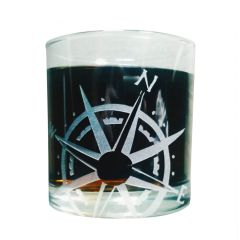 Compass Rose Etched Old Fashioned Glass