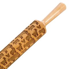 Humble Elephant Farm Animal Embossing Maple Rolling Pin