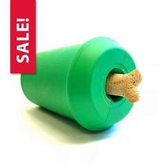 SodaPup Coffee Cup Durable Natural Rubber Dog Chew Toy and Treat Dispenser for Aggressive Chewers, Guaranteed Tough, Made in USA, Large Green