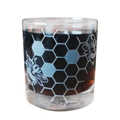 Honeybee Etched Old Fashioned Glass