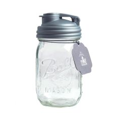 reCAP® Mason Jars POUR & Ball Pint Jar, Regular Mouth, Silver
