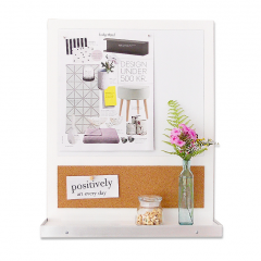 O'KEEFE - Whiteboard Message Center with Shelf and Key Hooks