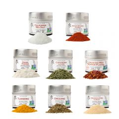 Pantry Starter Kit | Essential Spices, Seasonings, Salts | 8 Magnetic Tins