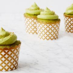 Green Tea Matcha Cupcakes with Gold Sprinkles