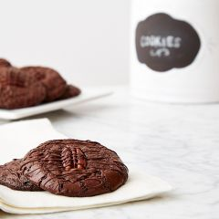 Flourless Chocolate Pecan Cookies with Chocolate Drizzle