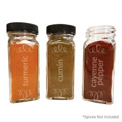 Turmeric, Cumin and Cayenne Pepper Glass Etched Spice Jar, Set of 3
