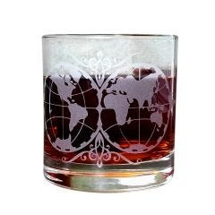 Old World Map Etched Old Fashioned Glass