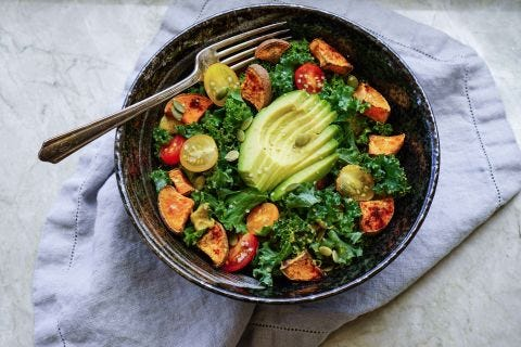 Dijon Mustard Salted Kale Salad with Roasted Butternut Squash