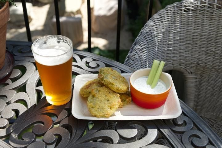 Fried Green Tomatoes Appetizer With Homemade Ranch Dip recipe.
