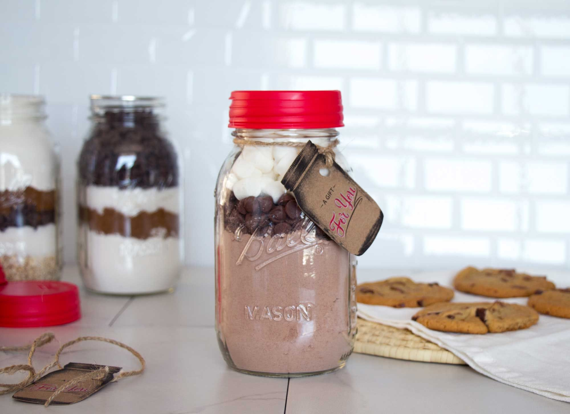 Hot Chocolate Cake Cookie Mix in a Mason jar recipe.
